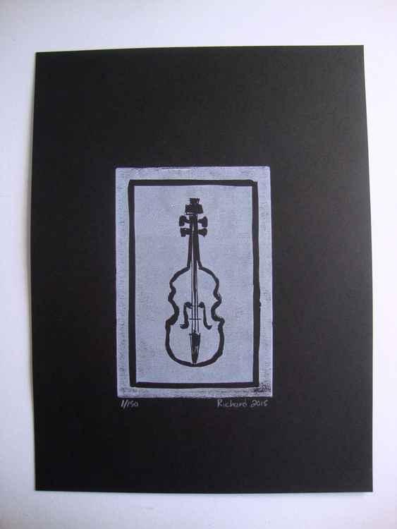 white violin on black -