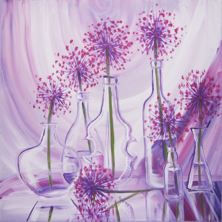 Lilac still life with allium in glass bottles acrylic painting original art 40x40cm cm n14 acrylic on the stretched canvas modern art wall art by artist Ksavera - Image 0