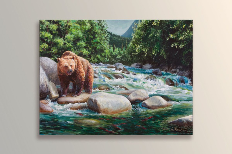 Grizzly Brown Bear and Salmon Stream - Image 0