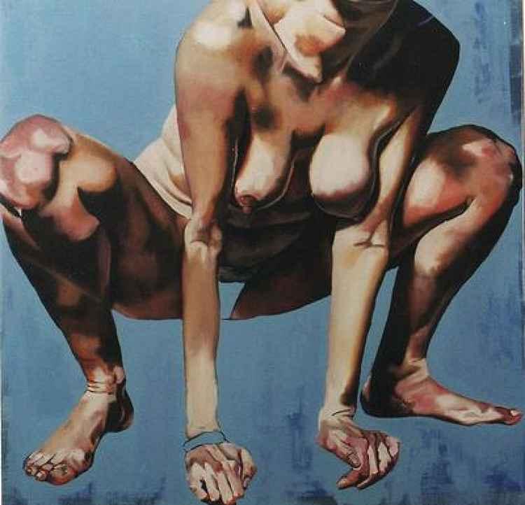 Crouching. -