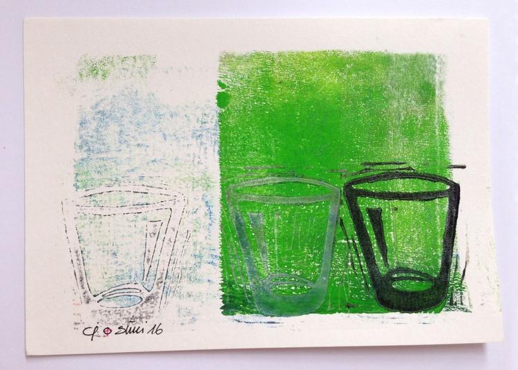 "Series ""LittleKitchenArt"": 3 Glasses With Green/1 - Image 0"