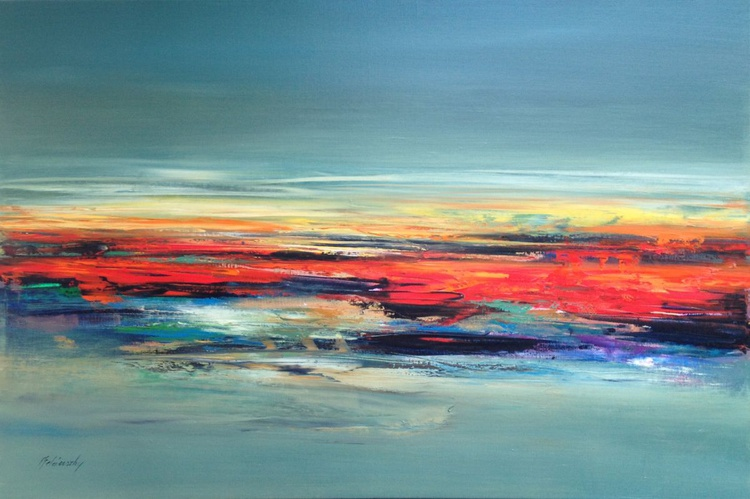 Neverborn Lands - 60 x 90 cm abstract landscape oil painting in gray red and green - Image 0