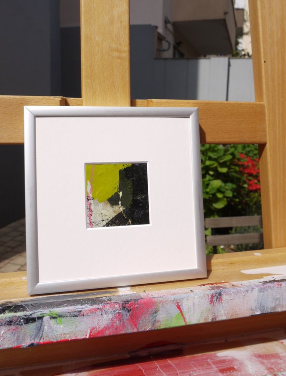 Little Green #1 | small abstract | miniature | green black pink cream - Image 0