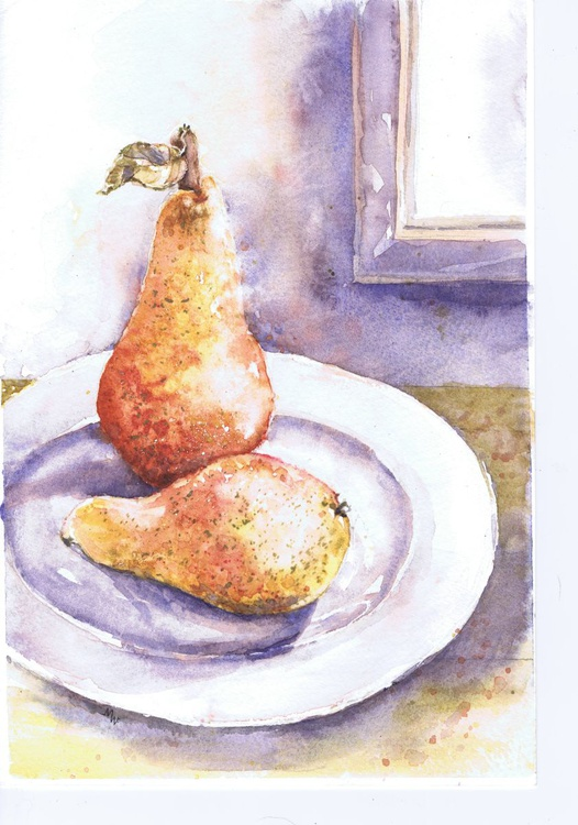 Two Pears on a Plate (framed) - Image 0