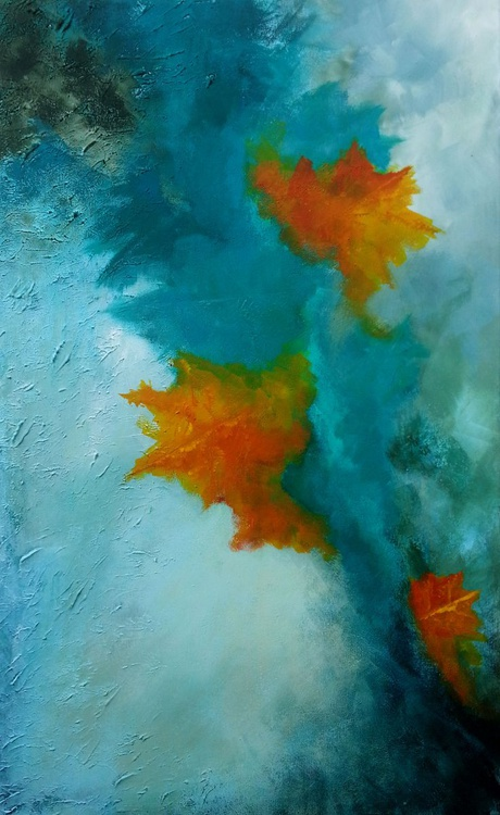 leaves ( textured acrylic abstract painting ) - Image 0