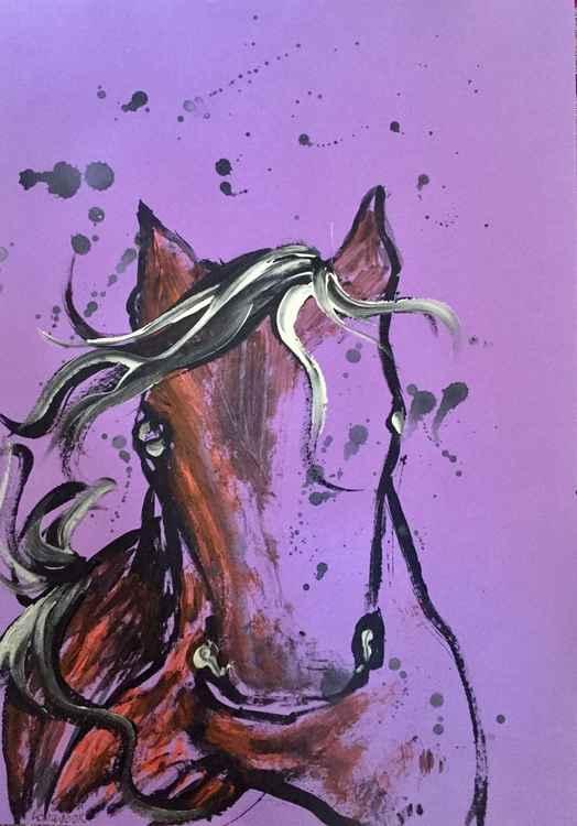 Original watercolor serie horses 2015 -
