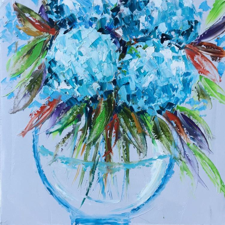 """Vase of Hydrangeas 14""""x14"""" - Image 0"""