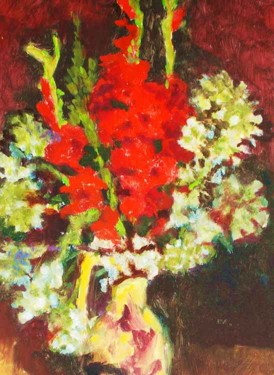 Red Gladiolas with White Flowers