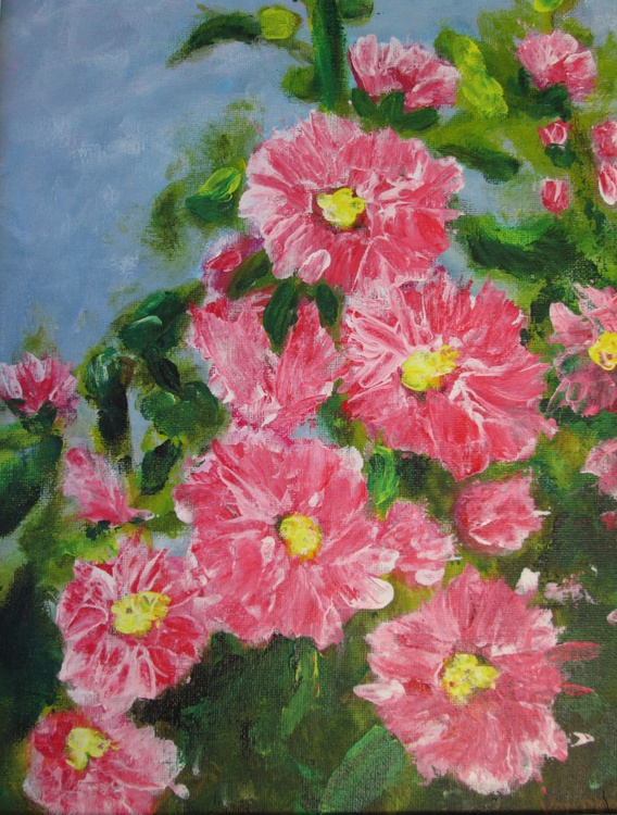"""HOLLYHOCKS"", 10""×12"", acrylic on canvasboard painting of my garden's flowers - Image 0"