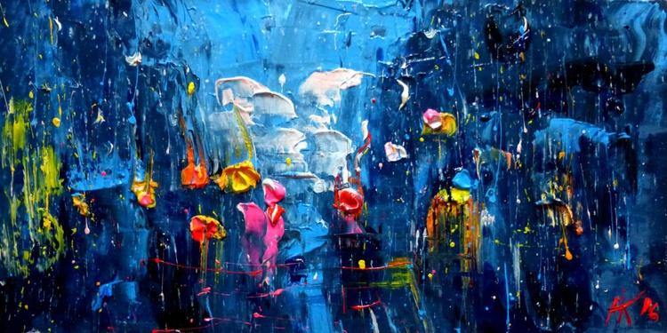 Evening Rain, original painting 50x25 cm - Image 0