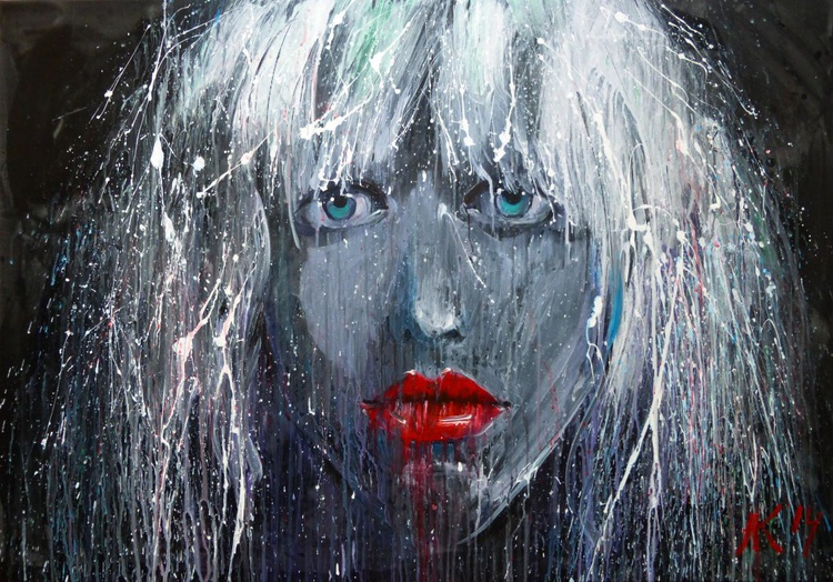 blonde, large painting 100x70 cm - Image 0