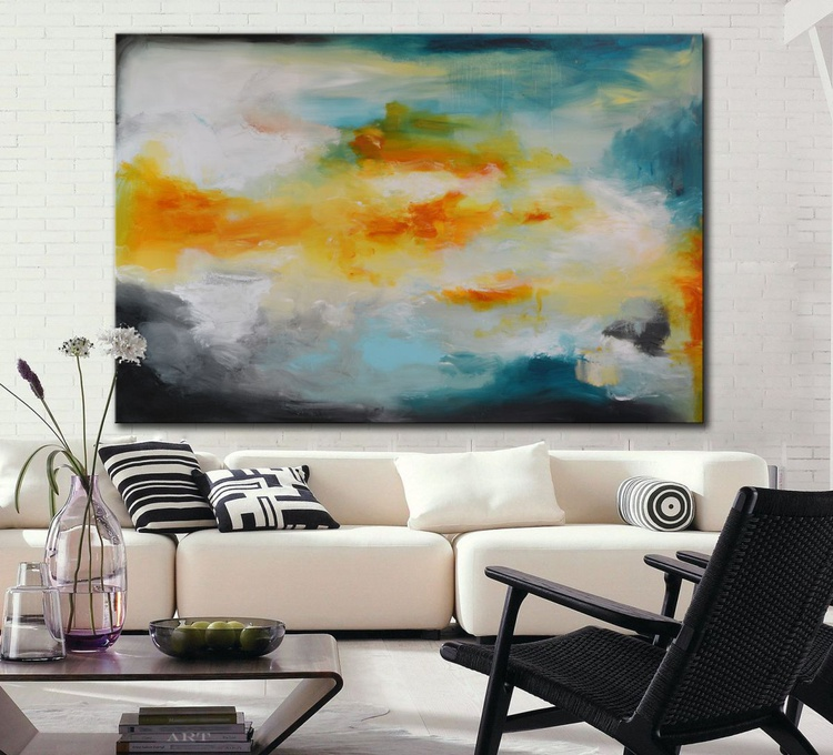 Arctic Sunrise - Abstract painting with yellow, blue and teal - free shipping - Image 0