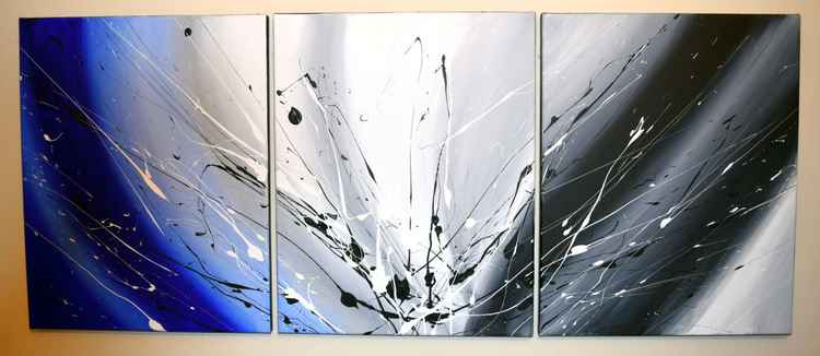 "Beautiful triptych abstract original ""Cool Blue"" abstract painting art canvas - 48 x 20  inches -"