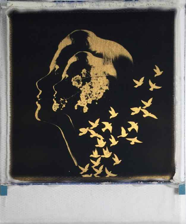 Golden Grace 24ct gold leaf Polaroid collage