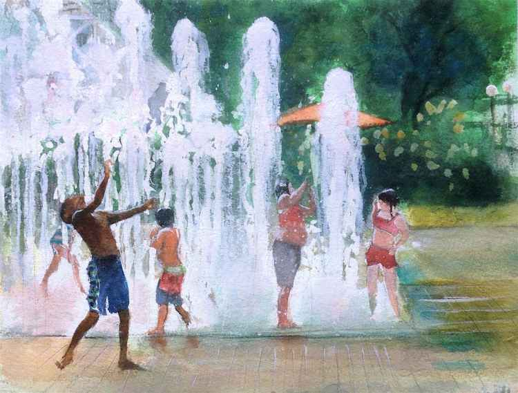 Kids Playing in Fountains II -