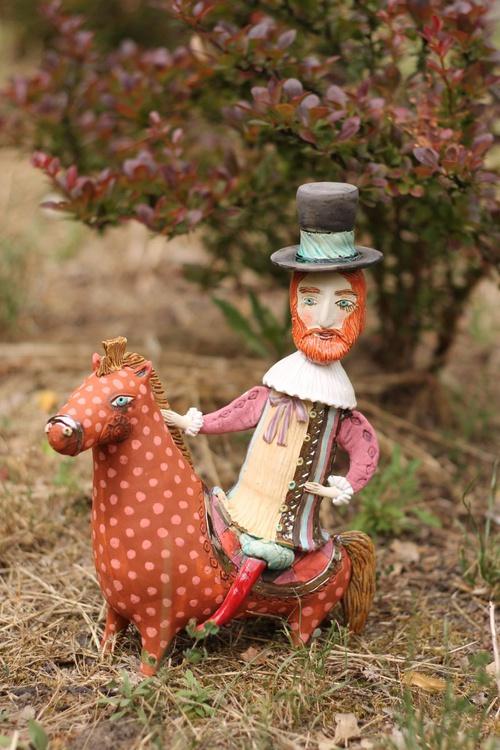 Cavalier in Bloom. Romantic ceramic sculpture by Elya Yalonetski - Image 0
