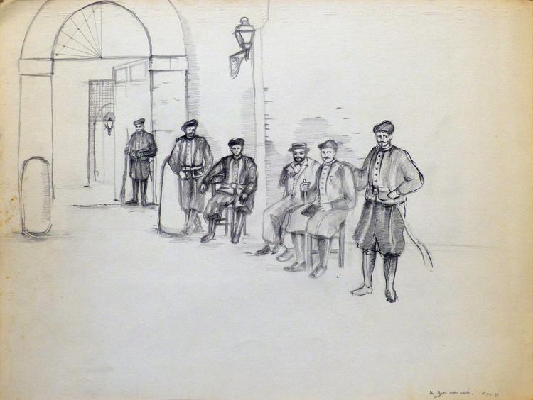 Historical Illustration, pencil drawing, 24x32 cm - Image 0