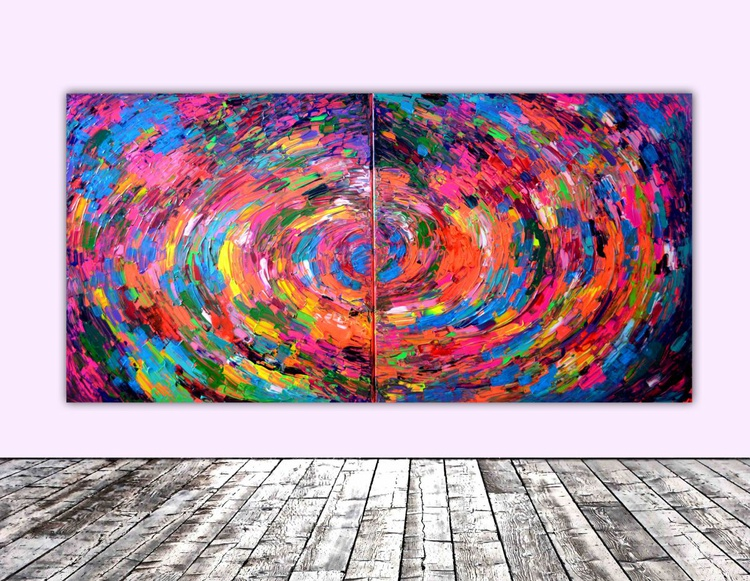Rounded Gypsy Skirt - 200x100 cm - XXXL Large Modern Abstract Big Painting - Ready to Hang, Office, Hotel and Restaurant Wall Decoration - Image 0