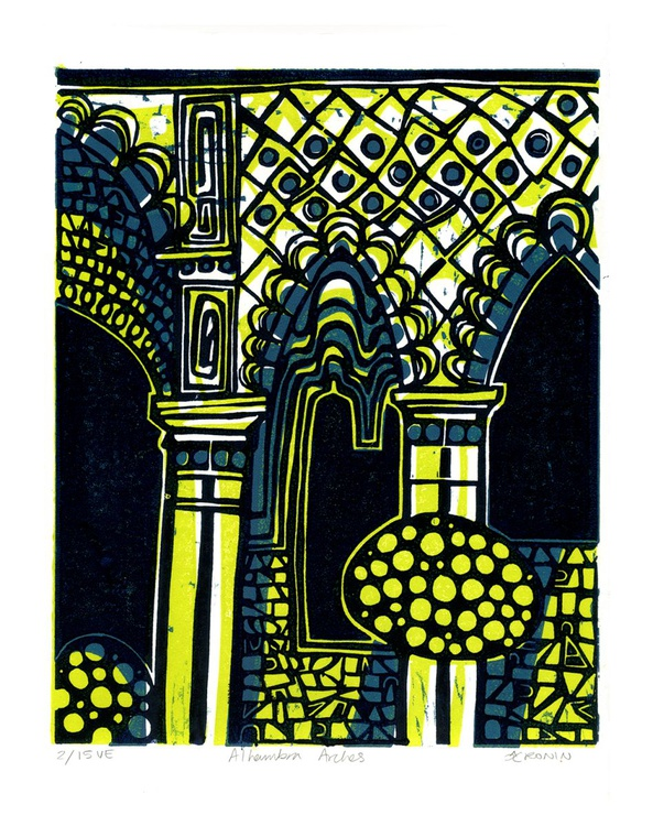 Alhambra Arches Linocut Hand Pulled Original Relief Print Variable Edition of 15 (lime) - Image 0