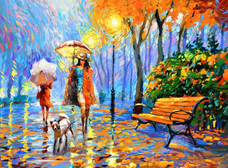"Golden Autumn - oil Painting with Palette Knife on Canvas by Dmitry Spiros. Size: 28""x36"" (70 cm x 90 cm) -"