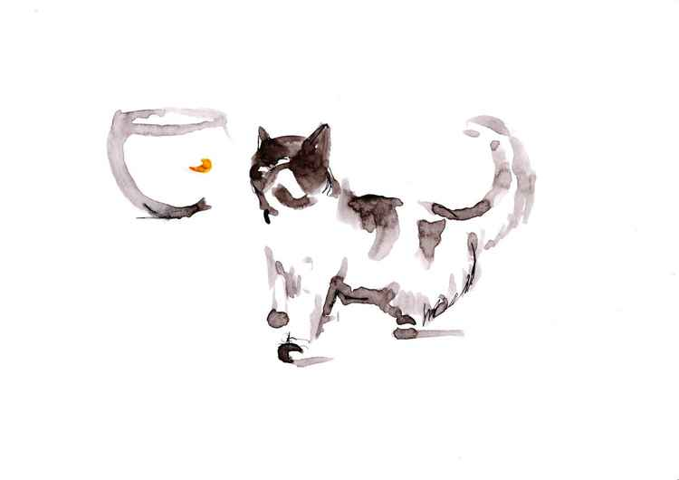 Cat and goldfish 2130A