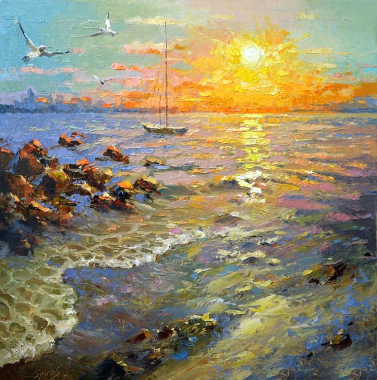 "Sunset - Original Oil palette knife Painting, Size: 70cmx70cm, (28""x 28"") - Image 0"