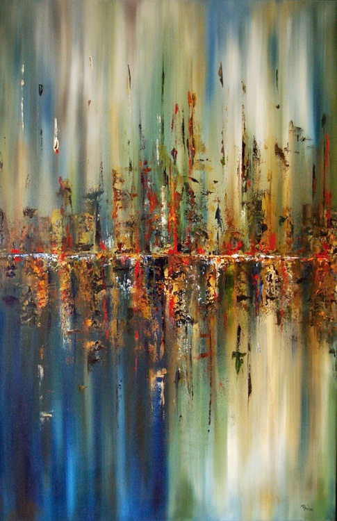 Spring Time i - Original One of a Kind Abstract Landscape Oil Painting Ready to Hang - Image 0