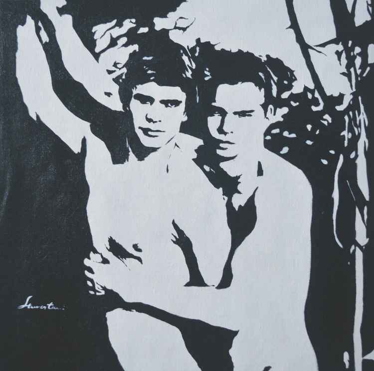ORIGINAL  ACRYLIC  PAINTING BLACK AND WHITE  ART MALE NUDE GAY ON LINEN #16-5-11 -
