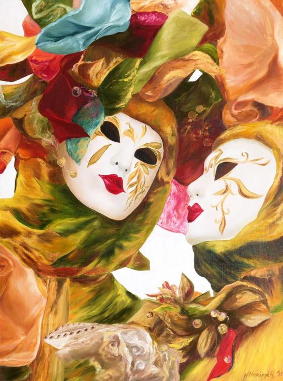 Original artwork Venice masks, carnival, italian portrait - Image 0