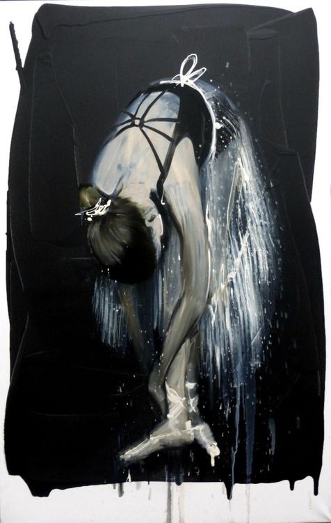 ballet dancer tying ballet shoes, large oil painting 70x110 cm - Image 0