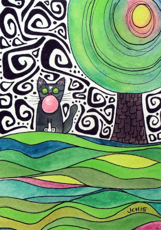 Groovy Cat Blows A Bubble (4) - Image 0
