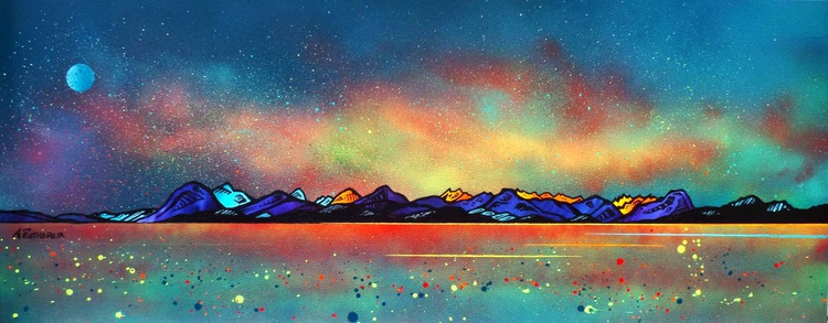 The Milky Way Over Skye & The Cuillin from Applecross, Scottish Highlands - original Scottish landscape painting - Image 0