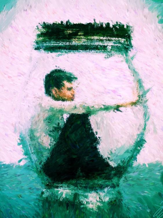 Man in Glass - Premium Poster Print - 75 x 100 cm - FREE SHIPPING - Image 0