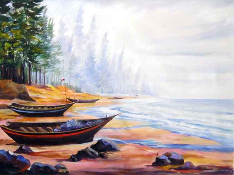 Fishing Boats at Seashore-Acrylic on canvas