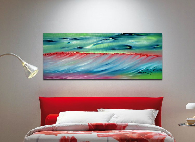 The sens of the time - 100x40 cm,  Original abstract painting, oil on canvas - Image 0