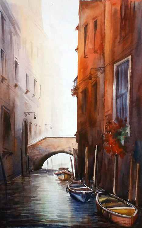 Morning Canals - Watercolor Painting