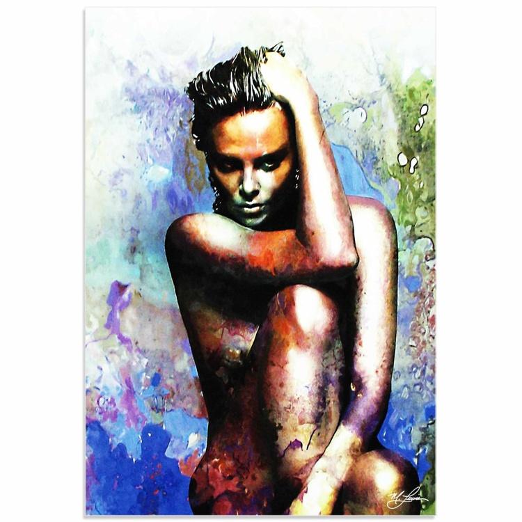 Mark Lewis 'Charlize Theron Blue Daze 2' Limited Edition Pop Art Print on Acrylic - Image 0
