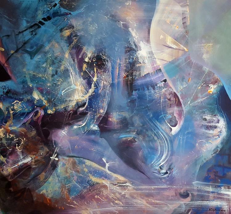 HUGE DREAMLIKE MINDSCAPE ONIRIC FANTASTIC ABSTRACT BLUE PAINTING KLOSKA ALICE MORNING DREAMS - Image 0