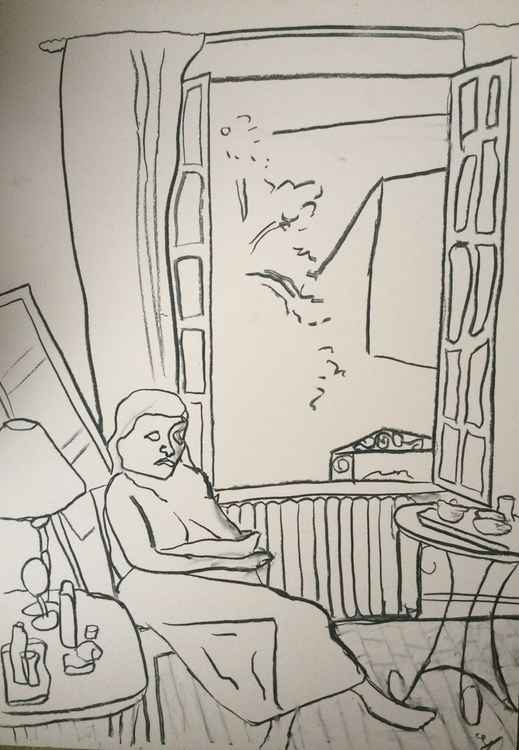Study of sad woman by windows, French  apartment