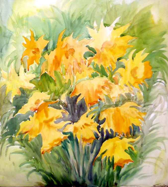 Beauty of  Yellow Flowers-Watercolor on Paper -