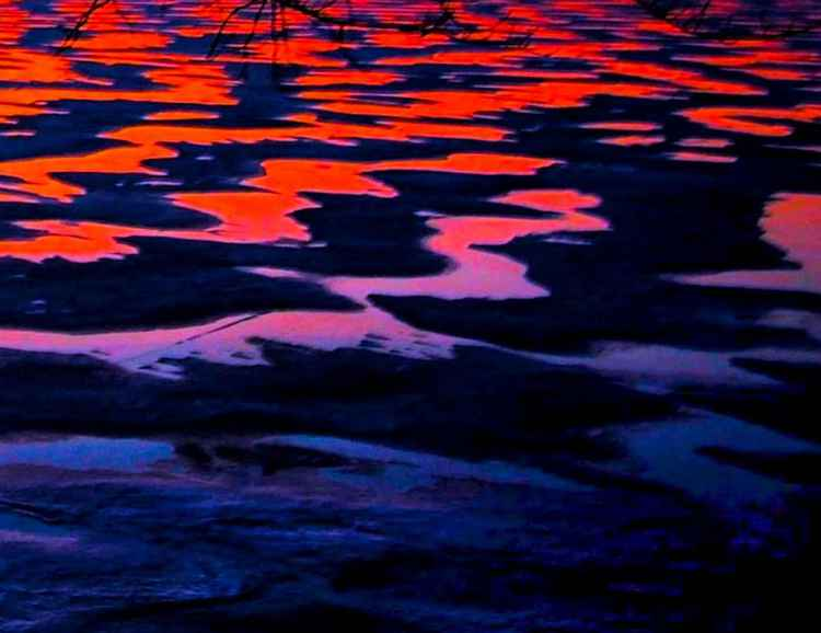 Winter Lake Sunrise abstract -