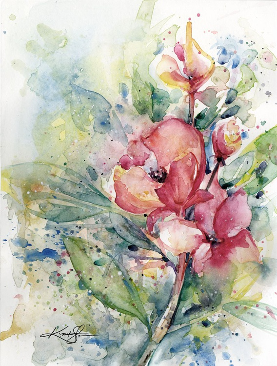 Alluring Blooms - Abstract Floral Watercolor by Kathy morton Stanion - Image 0