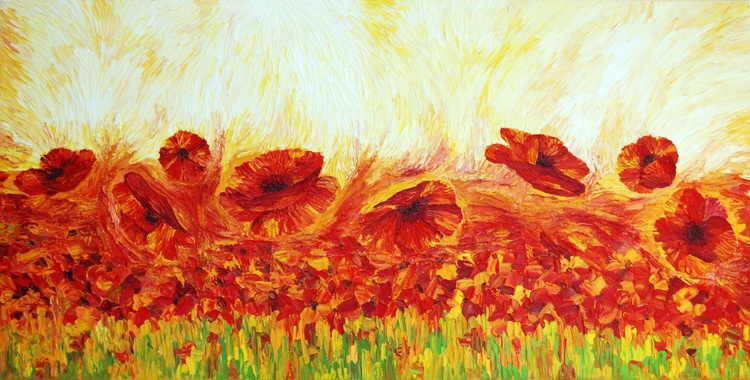 RED FIELD OF POPPIES - ORIGINAL FLORAL OIL PAINTING IMPASTO WALL ART HOME DECOR - Image 0