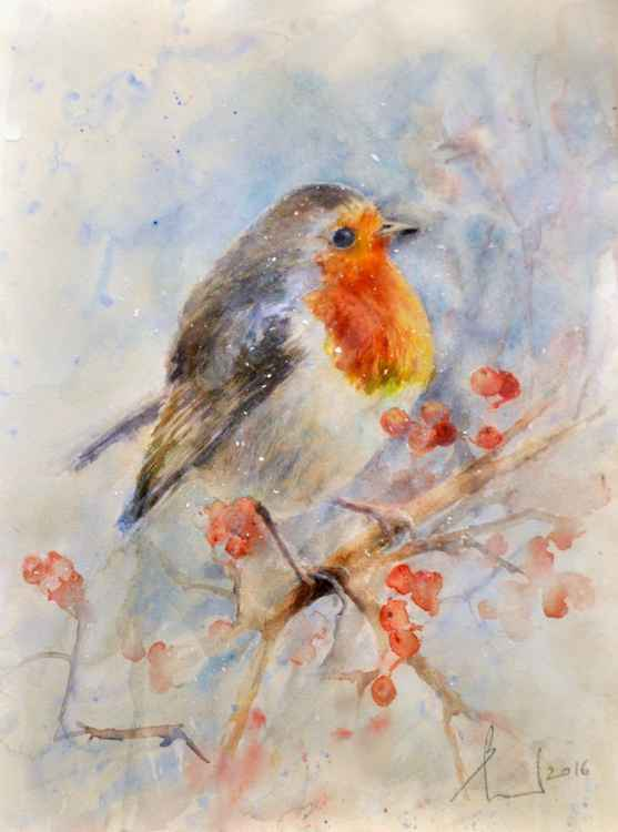 ROBIN AND SNOW original watercolour -