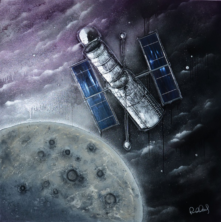 Hubble (Glow-in-the-dark with REAL moondust) original painting - Image 0