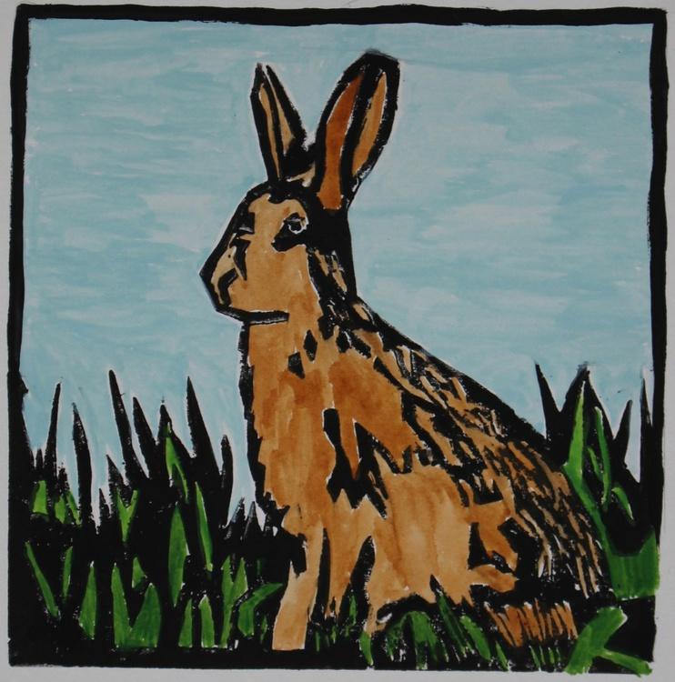 Brown Hare lino print - Image 0