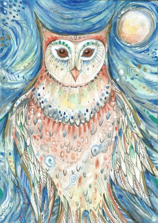 Owl Spirit II mixed media original whimsical painting famed ready to hang - Image 0