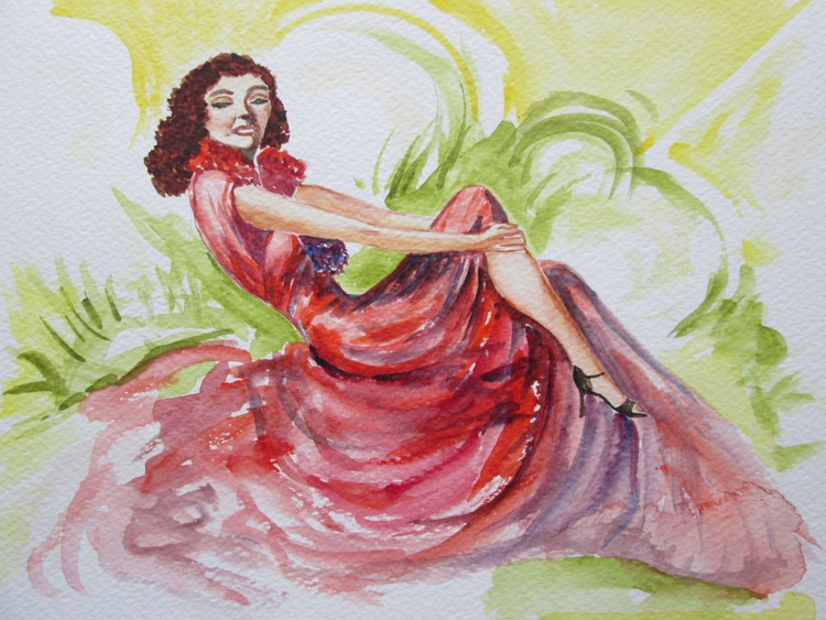 """SITTING PRETTY"", Art-Deco Inspired Romantic Painting of a Woman's figure in a red dress, Original Watercolour - Image 0"