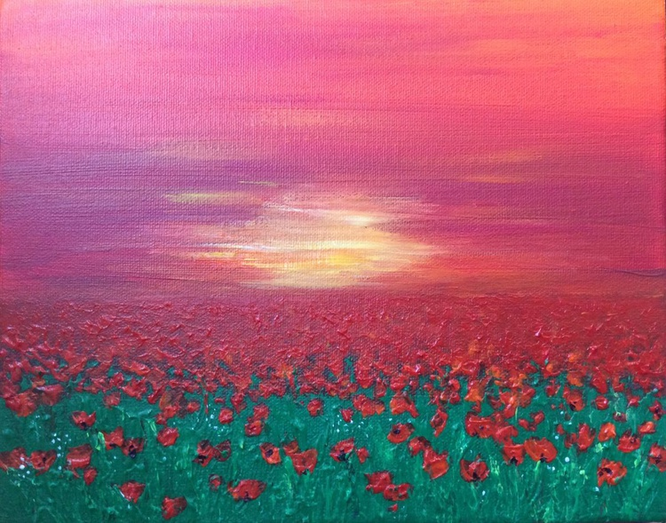 Where the poppies meet the sunrise 10x8ins - Image 0