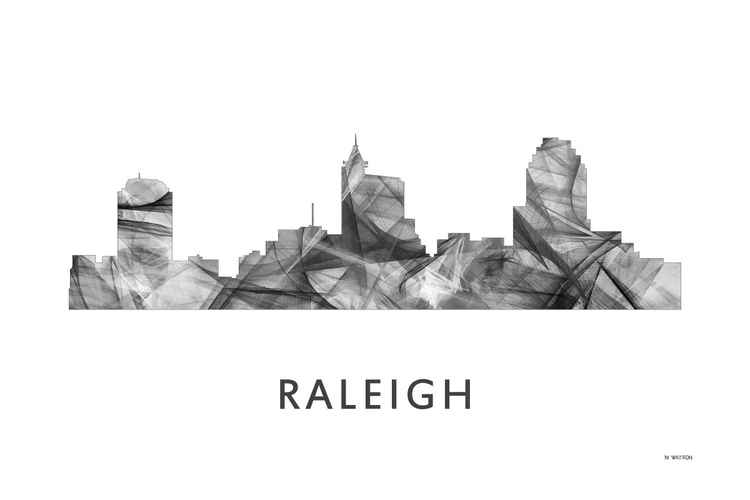 Raleigh North Carolina Skyline WB BW